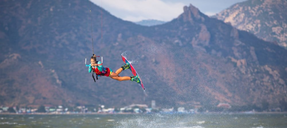 Some Phan Rang kitesurfing action during the 2016 KTA X-Champs at Ninh Chu Bay, Vietnam