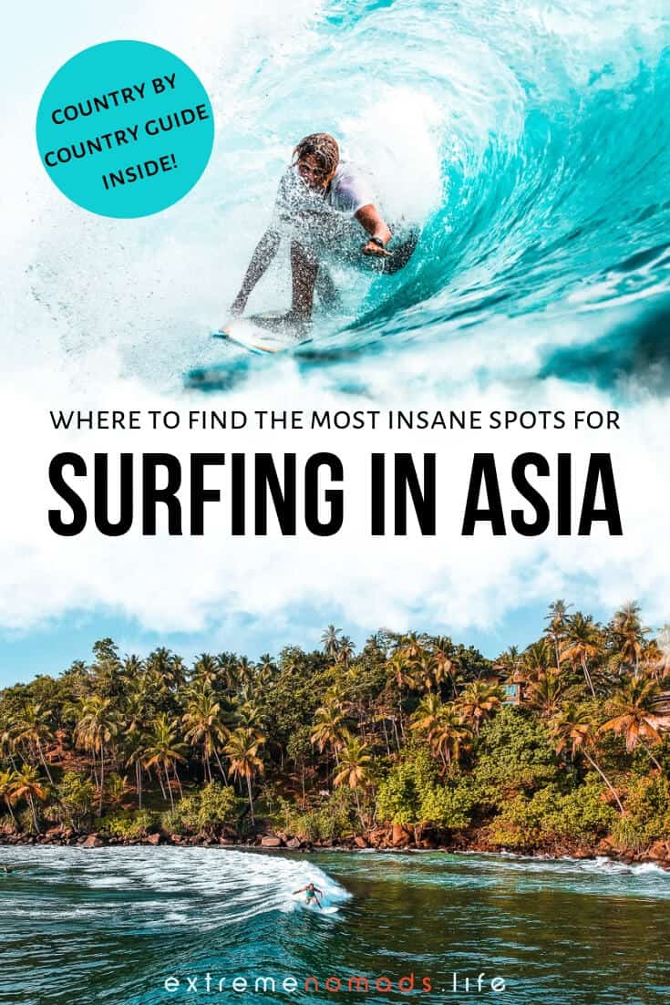 Surfing in Asia is the stuff of legends; from the bigass Bali surf to the lesser known spots in Thailand, Sri Lanka, and the Philippines, this monster guide details more than a dozen countries for your next surf travel adventure! This guide will walk you through where to find the best waves for all levels of surfer (we've also included a bunch of awesome surf photography to inspire your wanderlust!). #surf #surfing #asia #travel #adventure #bali