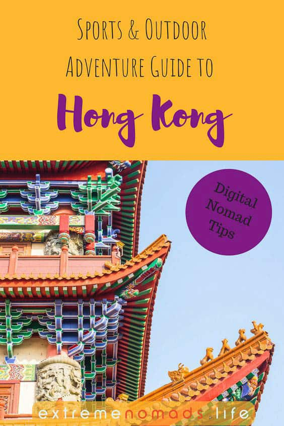 pinterest image of hong kong featuring a colourful temple against a yellow background