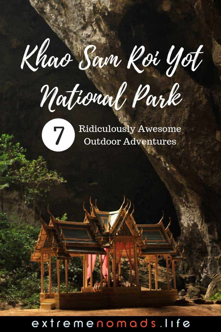 Khao Sam Roi Yot National Park is one of Thailand's most beautiful and least touristy destinations. Read about the best outdoor adventures in Sam Roi Yot, from hiking to Phraya Nakhon Cave to cycling over to the park from Pranburi Thailand. Plus, where to find the best of the Sam Roi Yot beaches! Click the link to read more. #thailandtraveltips #samroiyot #nationalpark #phrayanakhon