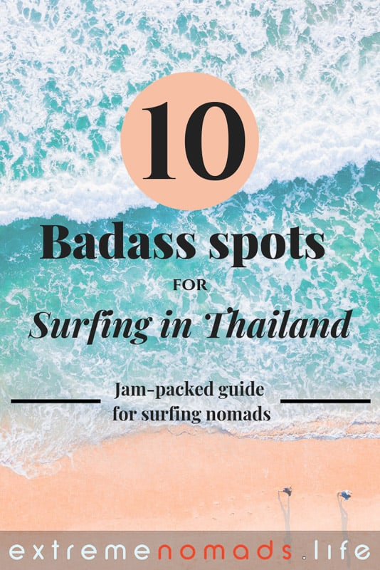 Ultimate guide to Surfing in Thailand: The surf in Thailand often gets overlooked, but in reality, your Thailand travel experience can become a real adventure when you chase the waves. Discover the top 10 Thailand surfing beaches and more by clicking the link! #ThailandSurfingParadise #BucketLists #ThailandTravel #SurfinThailand