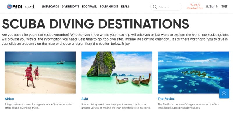 Padi Travel Home Page