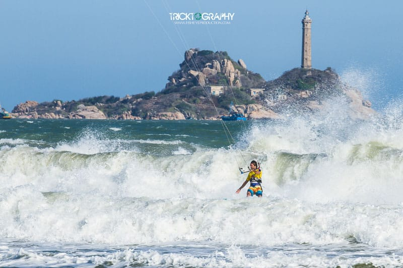 Kitesurfing in front of Ke Ga Lighthouse, Vietnam