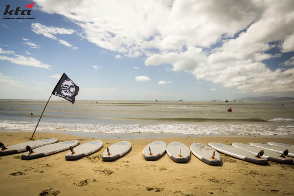 SUP boards on beach in Phan Rang, Vietnam