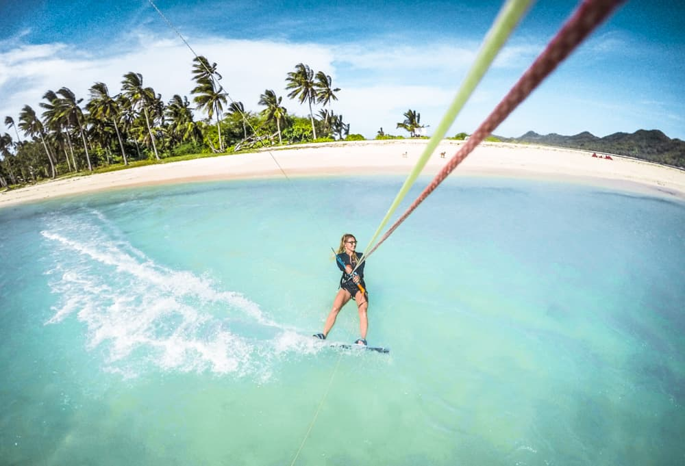Julia Tausch kiteboarding in Sibaltan, El Nido, Palawan, Philippines