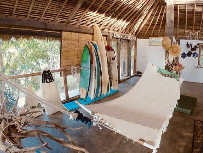 Boards and hammocks at Vertical House Surf Camp in Bali