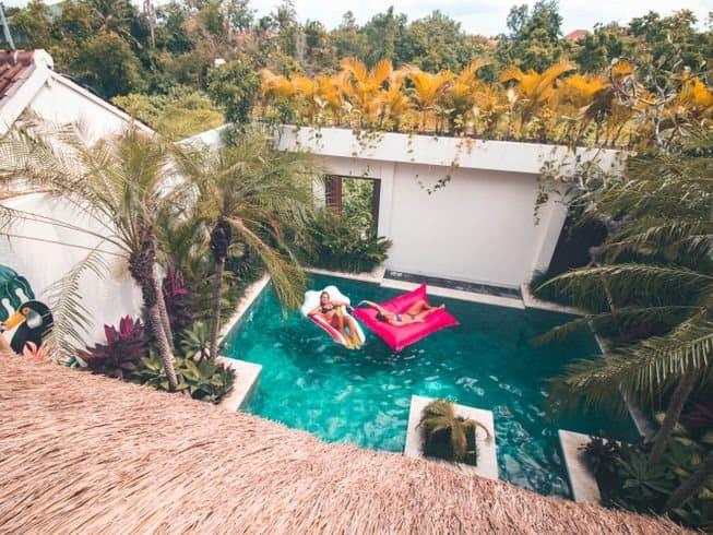 View of the pool from above at Solid Surf House Bali