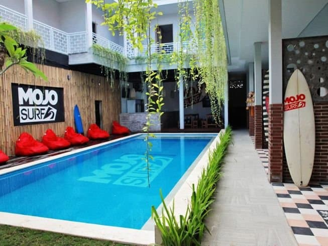 Poolside at Mojo surf camp in Bali