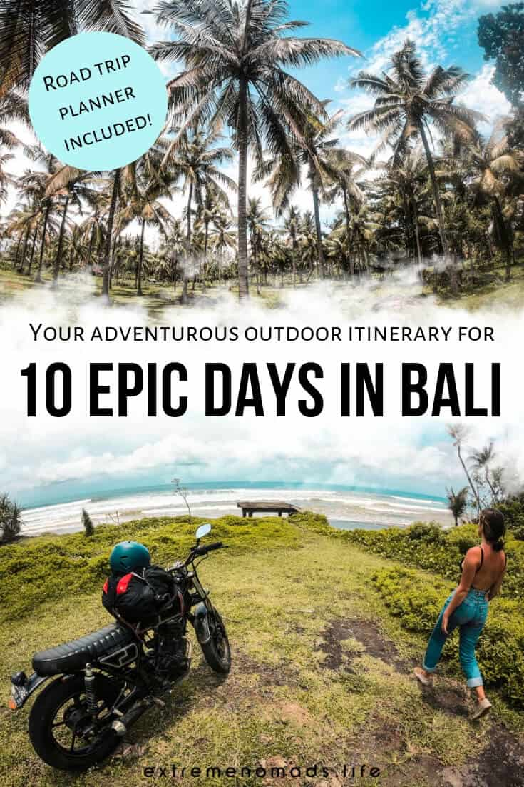 Pack all the biggest and best adventures into your Bali itinerary for 10 days. This Bali travel itinerary features road trips, surfing, trekking, wakeboarding, and so much more. #Bali #Asia #travel #adventure