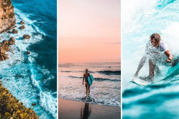 3 fold image: waves breaking under a cliff in Bali, a girl with a surfbord in hand, and a man surfing a barrelling wave