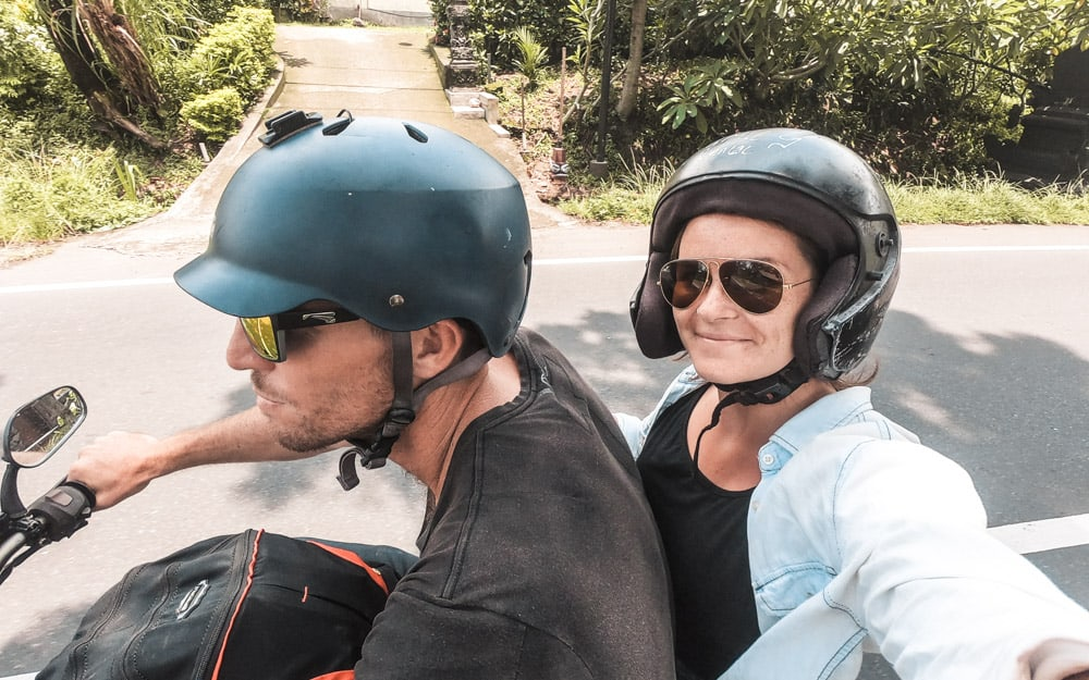Driving a motorbike in bali