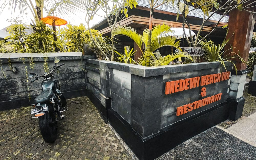 Medewi Beach Inn front gate - perfect location to catch the Medewi surf