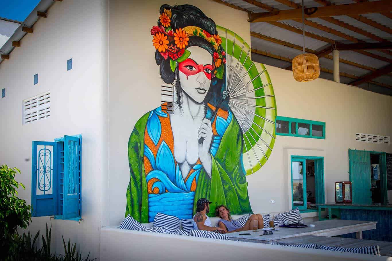 geisha mural at Sorrento Beach Club resort Phan Rang, Vietnam