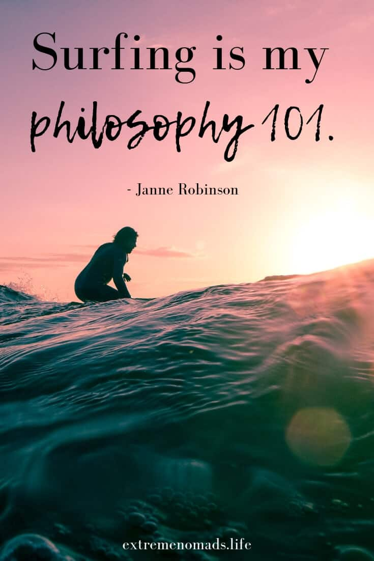 Pin image with surfing quote by Janne Robinson and image of sunset.