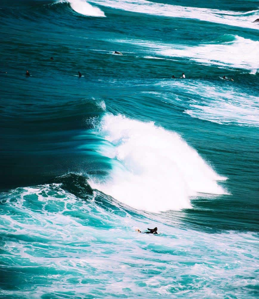 surfing photography from sydney, australia; marine blue waters from above