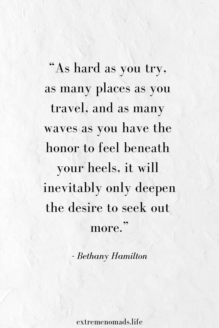 "A parchment paper background with a bethany hamilton surf quote that says: ""as hard as you try, as many places as you travel, and as many waves as you have the honor to feel beneath your feet, it will inevitably only deepen the desire to seek out more"""