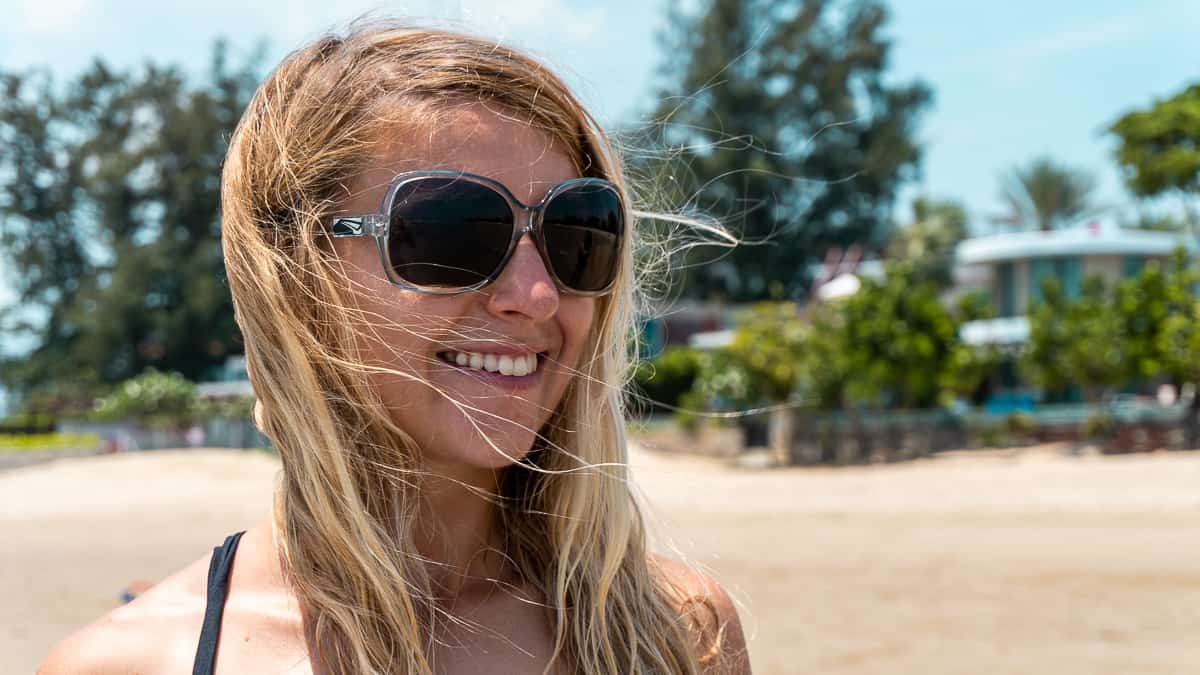 Blonde woman wearing quality sunglasses made by LiP with Zeiss lenses
