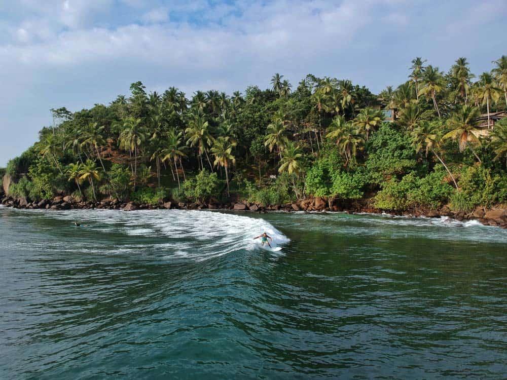 Palm lined coast and surf in Mirissa, Sri Lanka