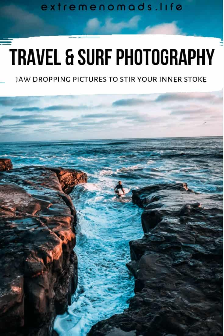 Surfing photography to inspire your wanderlust ~ feast your eyes on these beautiful surfing pictures captured by talented surf photographers around the world. From surfing under the Golden Gate Bridge to baby blue barrels in the Maldives, the surfing photography in this collection is bound to inspire your next adventure! #surf #surfing #surfingphotography #surfingpictures