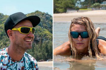 photo en deux parties d'un homme (à gauche) souriant et portant des lunettes de soleil jaunes flottantes et d'une femme (à droite) portant la version sombre