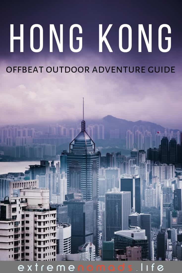 pinterest image with stormy purple skyline in Hong Kong central