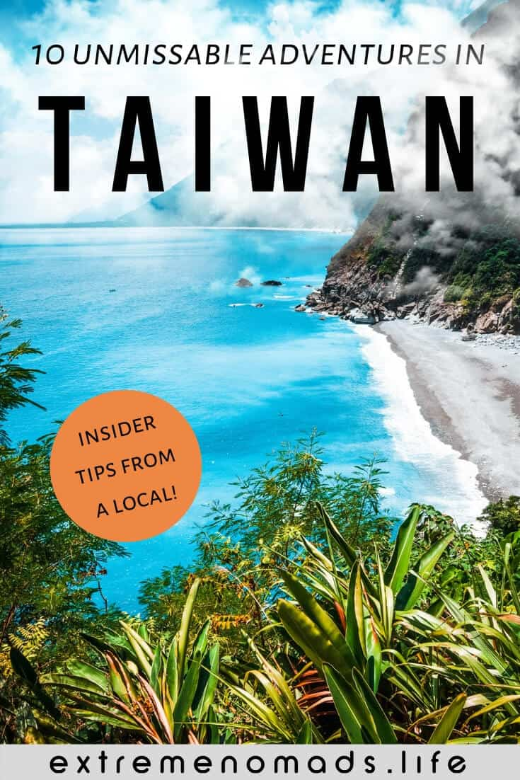 "Pinterest pin featuring image of blue water and beach with text ""unmissable adventures in Taiwan"""