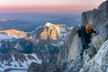climbing the grand teton at sunrise