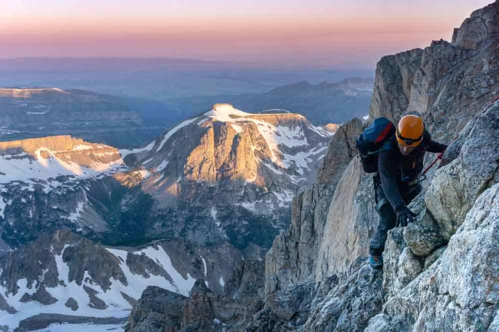 Climbing the Grand Teton at sunrise