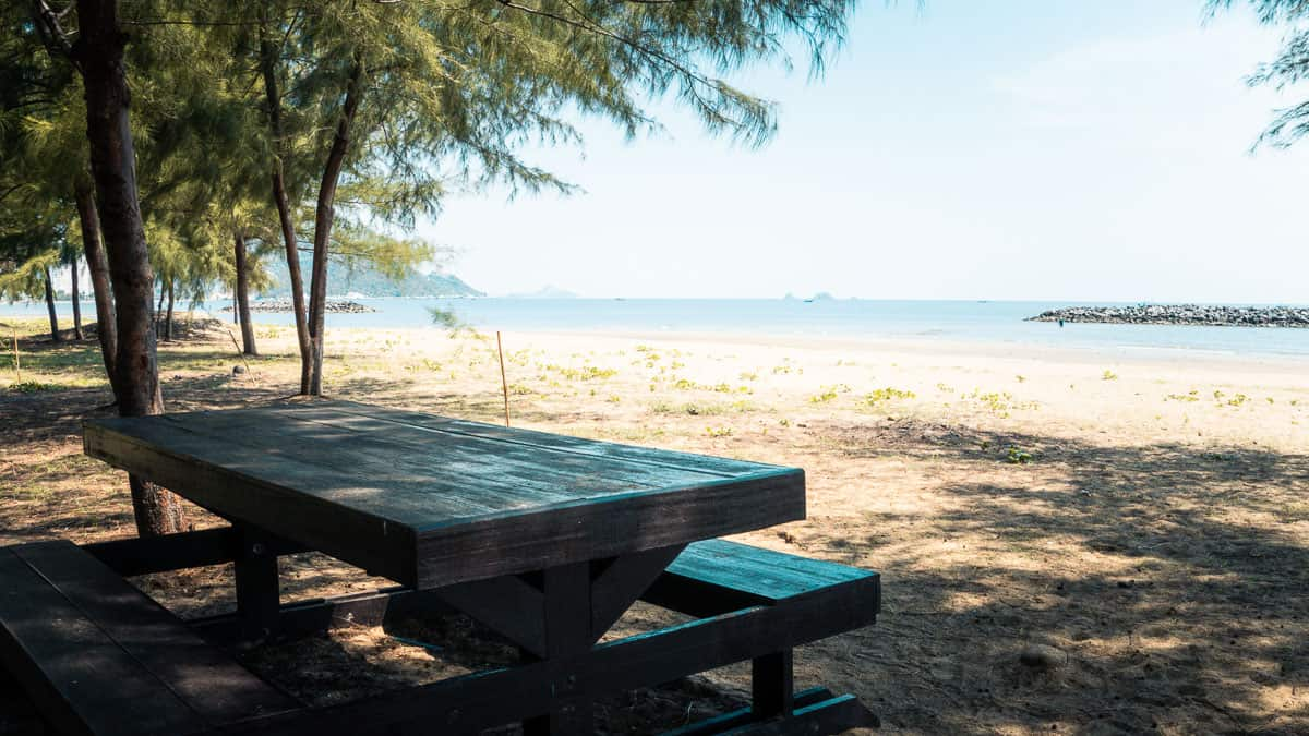 picnic bench on pranburi beach