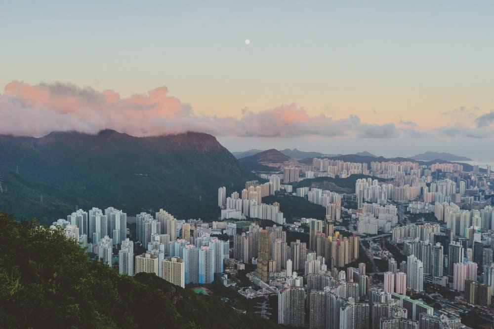 sunset shot of the hong kong skyline