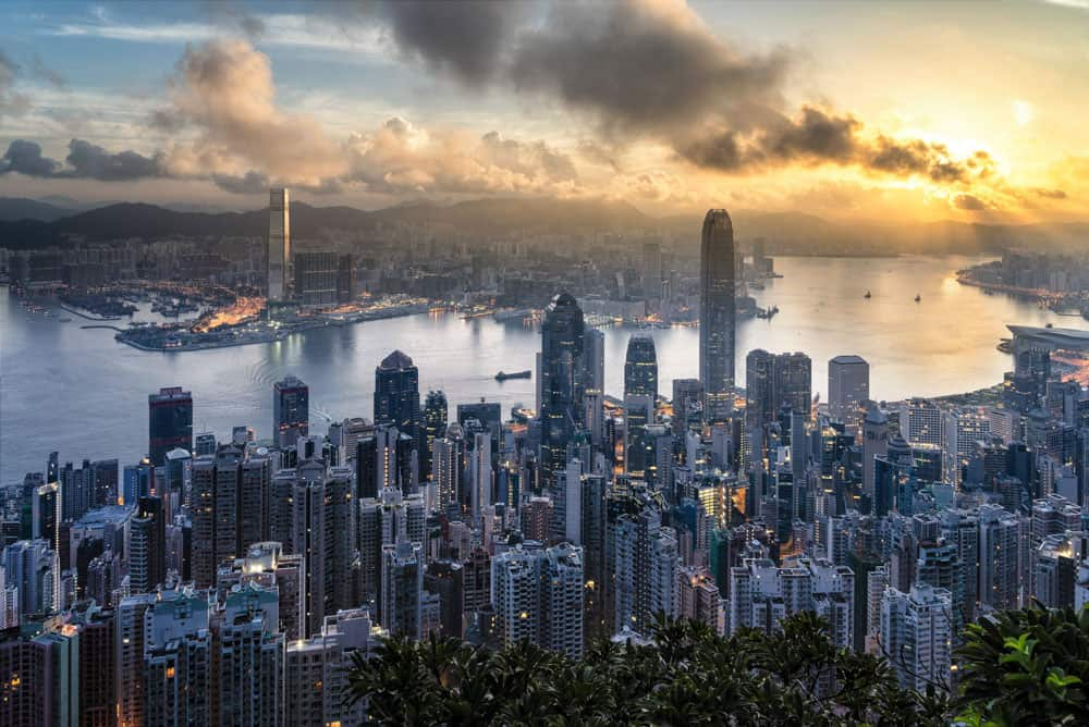 hong kong central skyline at sunset