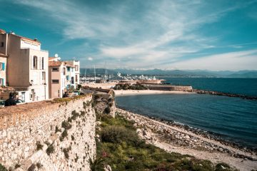Old town of antibes overlooking the seaside