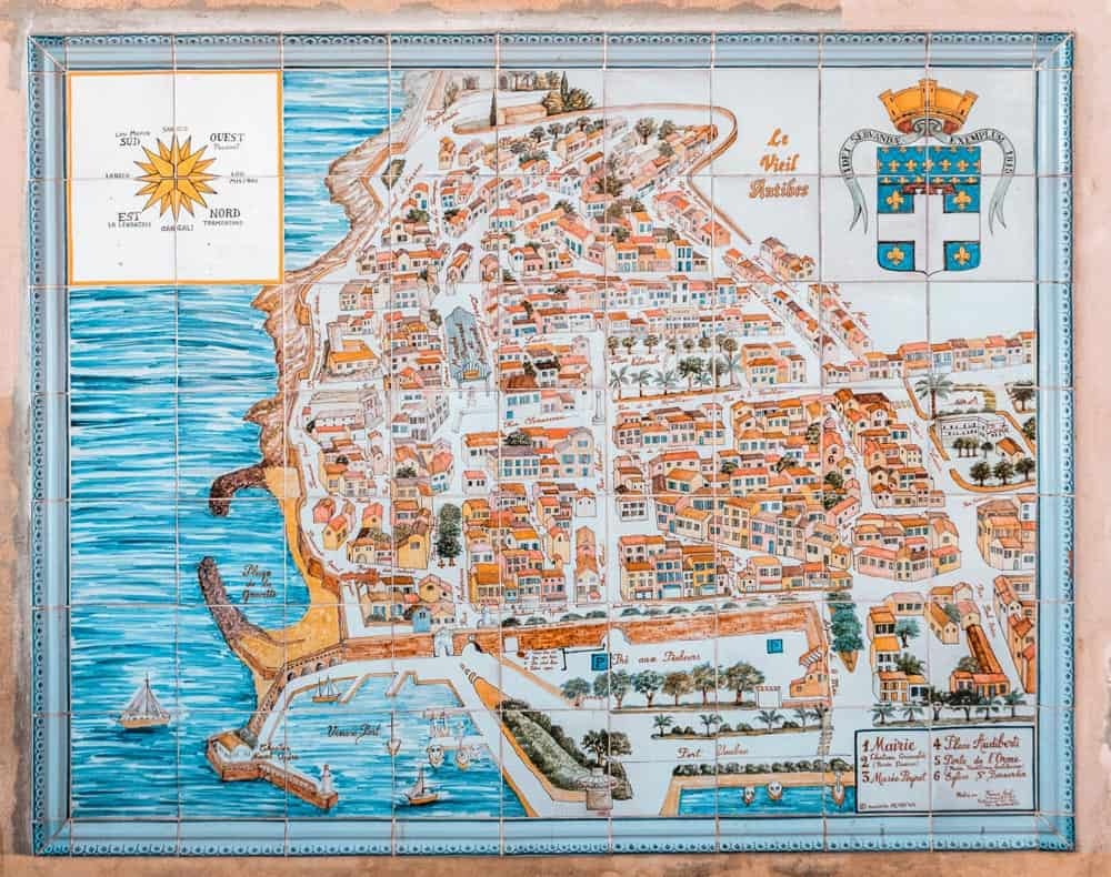 old tiled map of antibes' old town