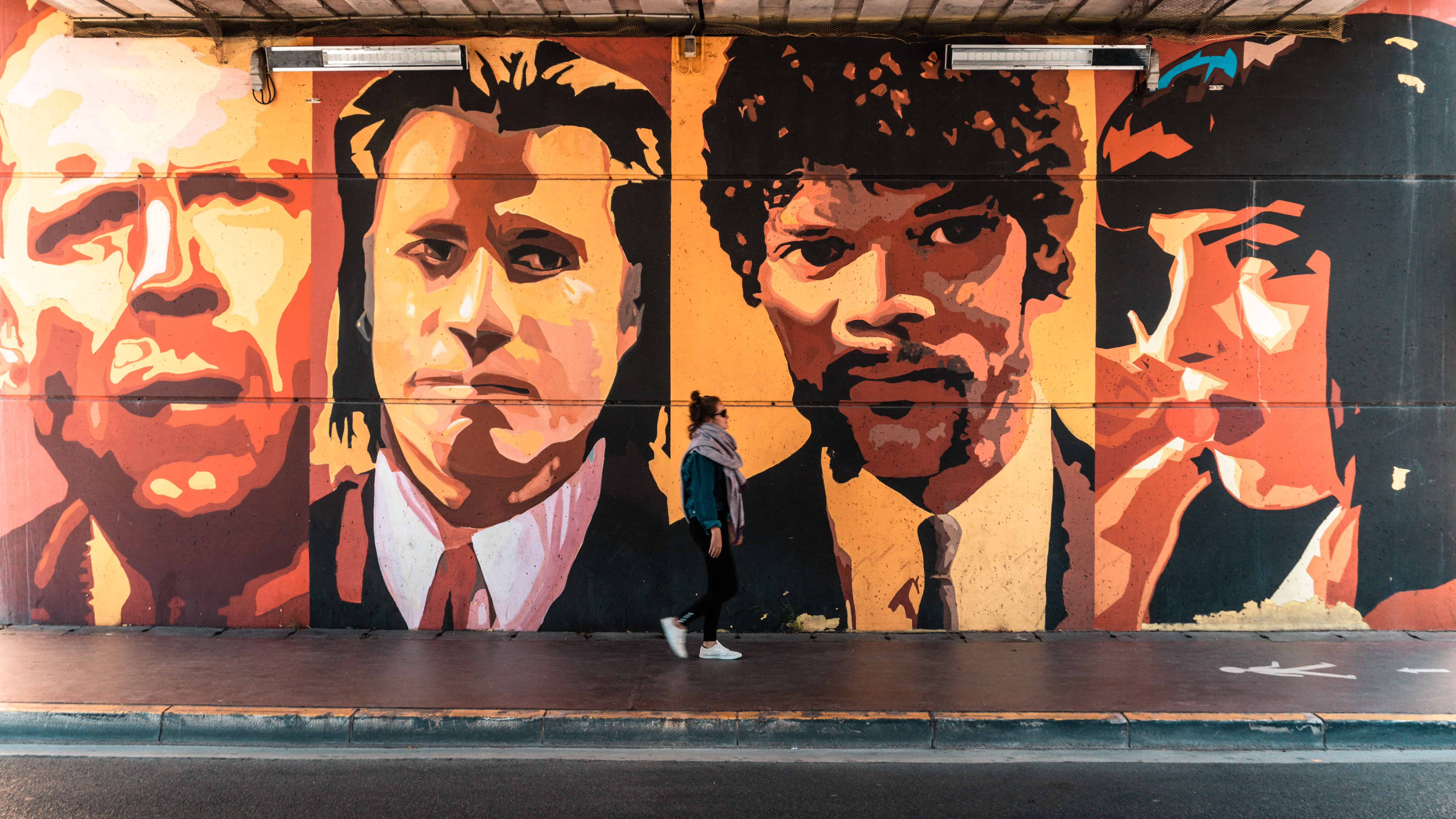 Pulp fiction mural in Cannes, France
