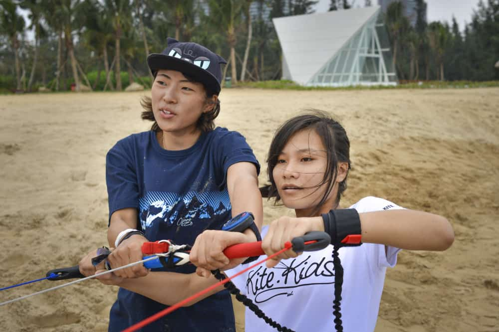 kitesurfing kids class in progress in Bo'ao. Hainan, China