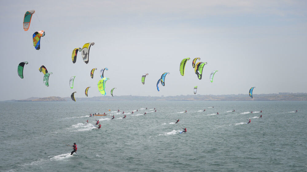 Kitesurfing race in progress in Pingtan, China