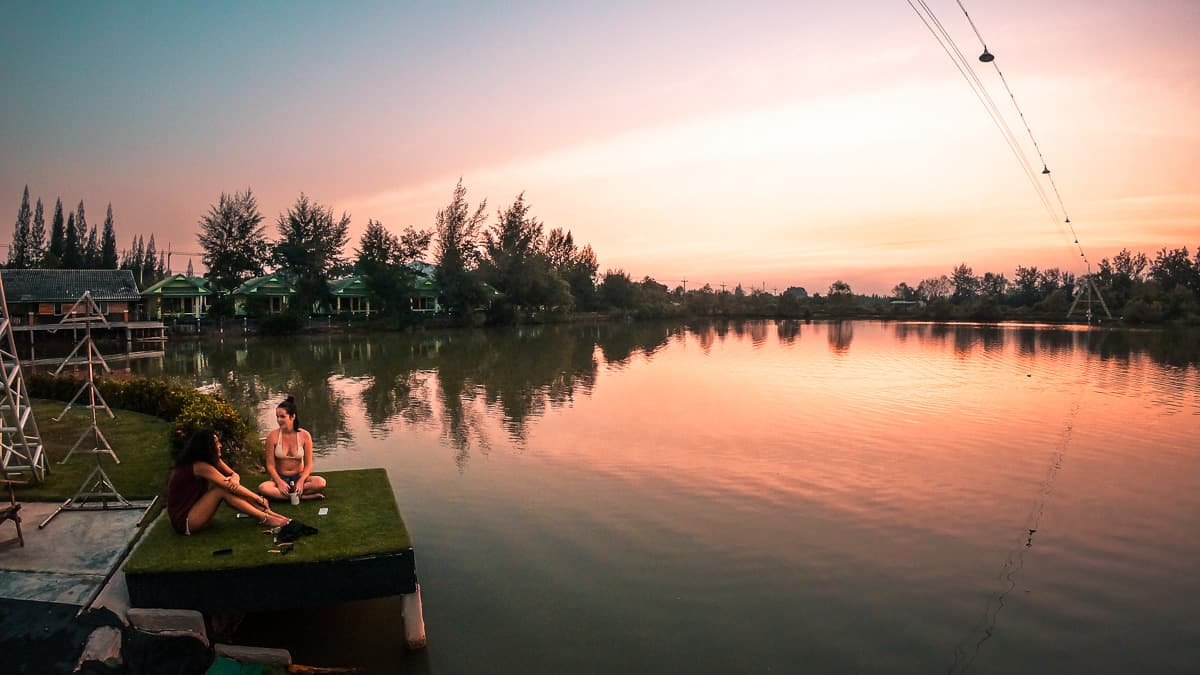 how to wakeboard kite cable thailand sunset