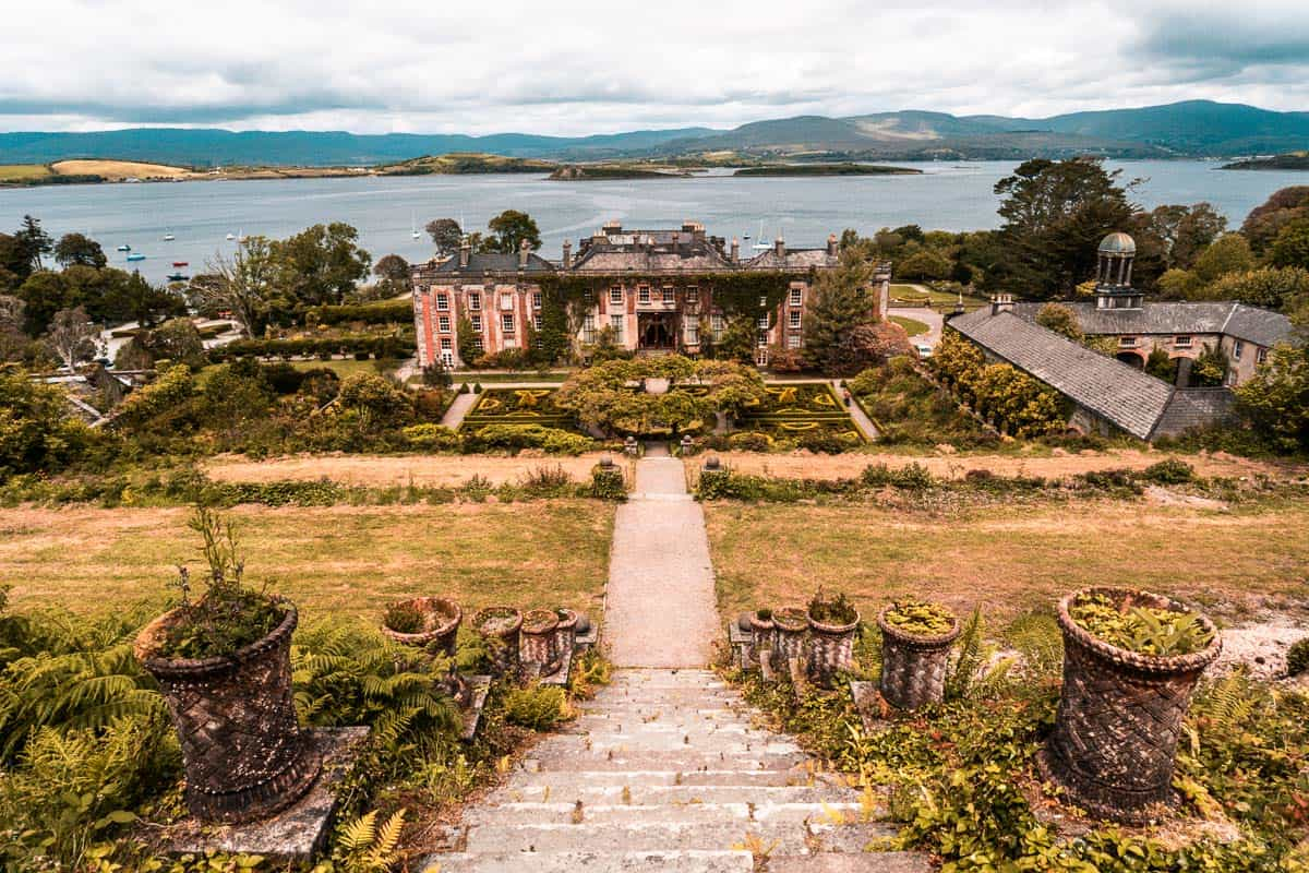 bantry house and the bay beyond from on top of the iconic '100 steps'
