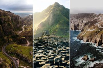 three part cover photo of various hikes in ireland: the first is a winding road through the mountains, the second is the giant's causeway, the third is slieve league in county antrim.