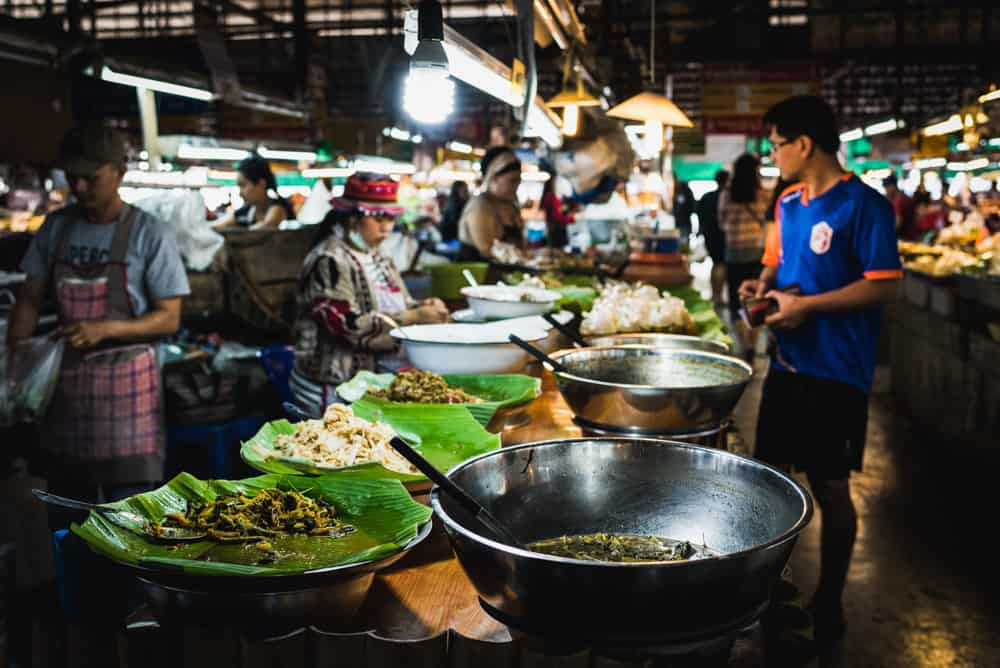 night scene of a food market in chiang mai, thailand