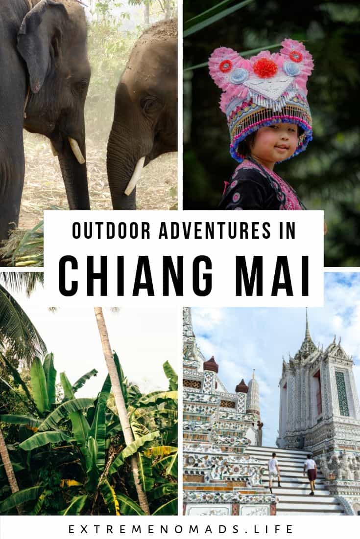 a pinterest image with 4 photos: elephants, a little girl dressed in traditional clothing, jungle foliage, and a beautiful white temple. The caption reads: outdoor adventures in chiang mai