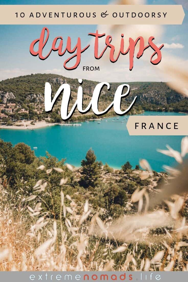 "pinterest image of the verdon river with some green hills surrounding it, and the caption ""10 adventurous and outdoorsy day trips from nice, france"""