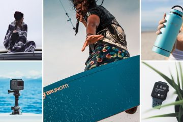 5 part image with a kitesurfer in the centre picture which is largest. The other 4 pictures show a warm woven blanket, a gopro, a smartwatch, and a reusable water bottle.