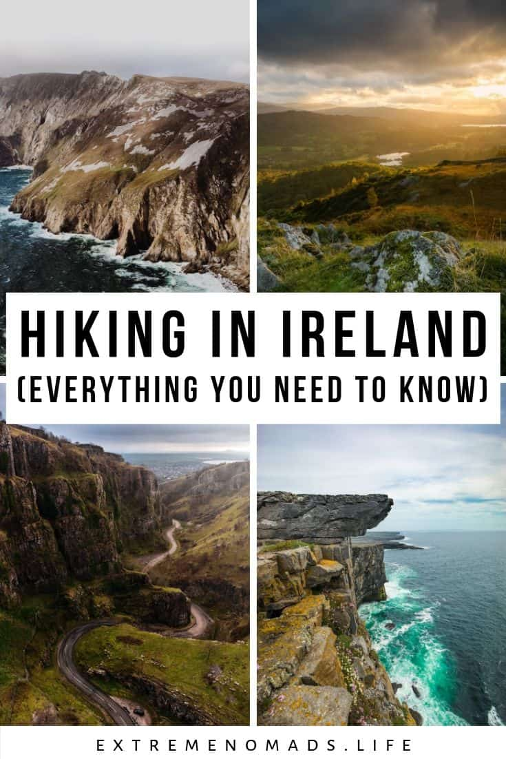 pinterest image with 4 photos of various places for hiking in ireland. there is a caption in black and white in the centre that reads: hiking in ireland [everything you need to know]