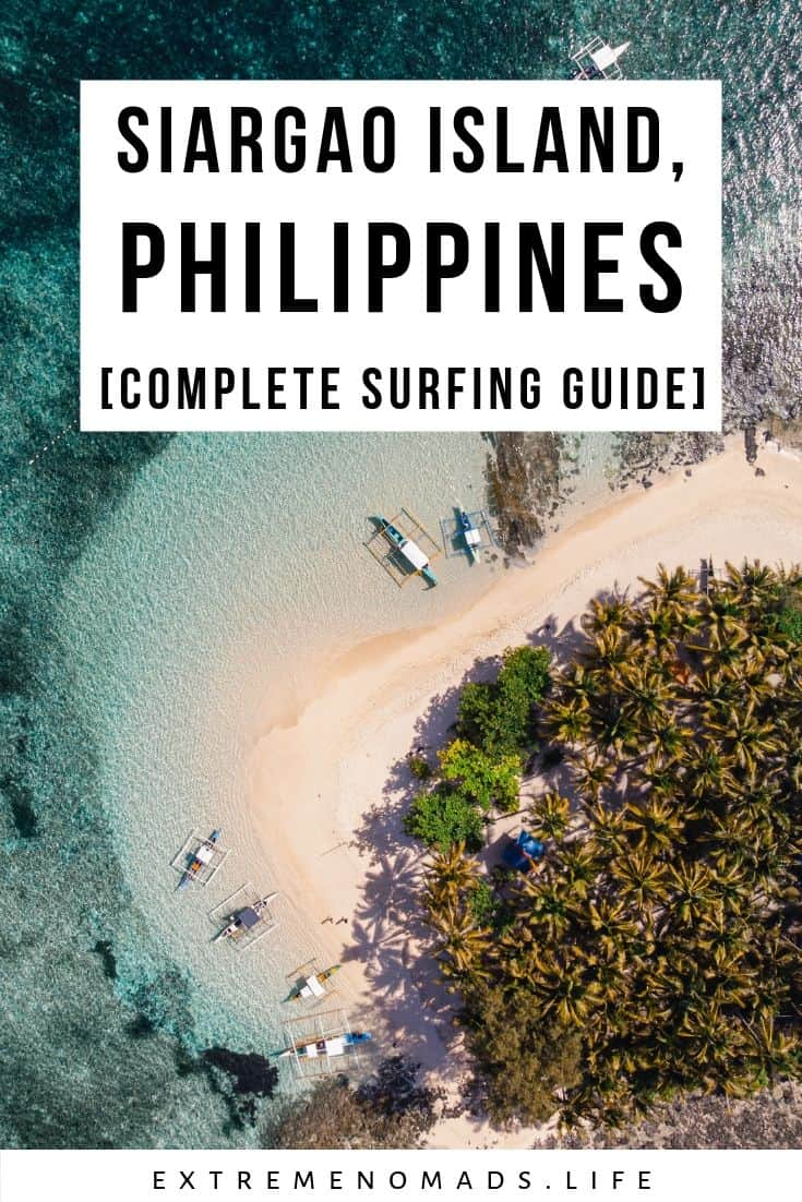 pinterest image with drone photo of guyam island off the coast of siargao, phillipines. the caption on the pin reads