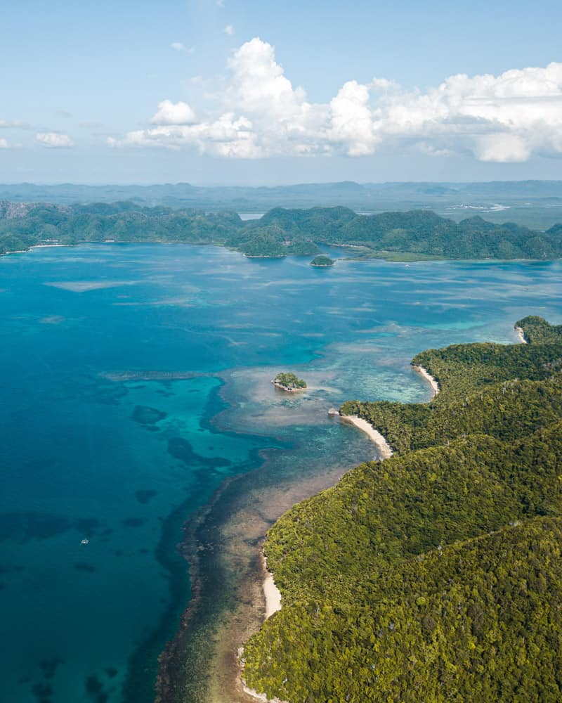 Aerial shot of Kawhagan Island, off the shore of Siargao, Philippines