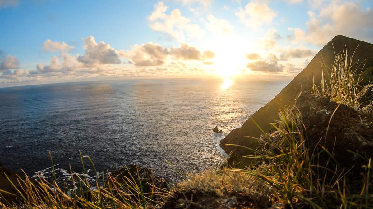 the sunset at keem bay, achill island, ireland.