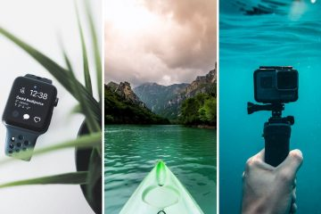 3 part image: the first is a black smartwatch on a white background with a decorative plant in foreground, the second image is of a green kayak floating on the water facing big beautiful mountains, the third is of a gopro being held underwater.