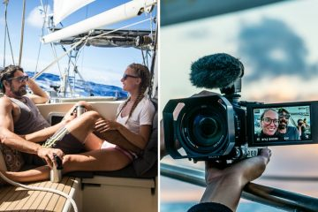 two part image - the first is Brian and Karin sitting onboard SV Delos in the sun as they cruise through the ocean; the second is of them filming themselves on their professional camera for YouTube