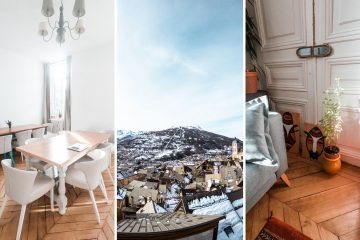 three part image of cloud citadel's living room, the old town of briancon, and a corner of the coliving space with nice decorations.
